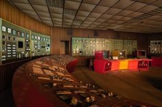 """Lady in Red Power Plant France. Lady in Red is a disused power plant control room in France which supplied energy to a nearby paper mill. The nearly pristine control room features two crescent-shaped red control panels and a red/orange/yellow central console with three CRT monitors. Excerpt from """"Lady in Red Power Plant France"""" original photographs and post by Obsidian Urbex Photography. . #abandoned #photography #urbanexploration #urbex #decay #derelict #lostplace"""