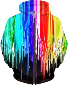 NBK Neon Drip Custom Rave Rebel Revolution Style Zip Hoodie by Willy Badu.