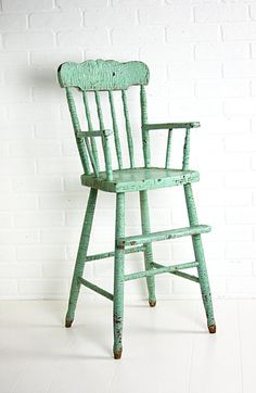 Antique High Chair  Early 1900's Antique High Chairs, Wooden High Chairs, Old Chairs, Painted Chairs, Painted Furniture, Outdoor Chairs, Shabby Chic Stool, Newborn Photo Props, Newborn Photos