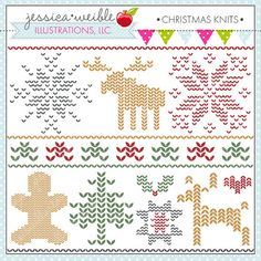 Christmas Knits Cute Digital Clipart for Commercial or Personal Use, Christmas Clipart, Christmas Graphics Christmas Graphics, Christmas Clipart, Xmas Cross Stitch, Christmas Knitting, Knit Or Crochet, Vintage Knitting, Needlepoint, Crochet Projects, Knits