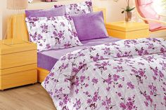 Custom Queen Size Lilac Plaid Checked  Floral by MyveraLinen, $85.00