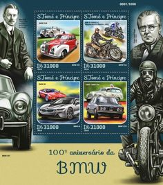 ST16114a 100th anniversary of BMW (BMW 328, BMW 501; MW R1200GS LC Wunderlich X2 Electric 2WD, BMW R32; BMW M1, BMW i8; EMW / BMW 340, BMW 323i)