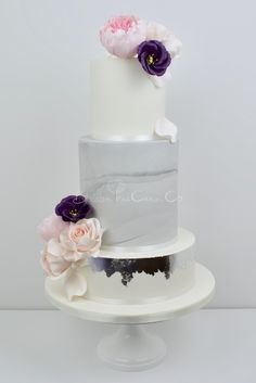 Silver Marble and Peony wedding cake by Blossom Tree Cake Company, Harrogate, North Yorkshire
