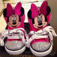 Custom Minnie Mouse Converse (Swarovski crystals) by KraftedByKiraLee on Etsy https://www.etsy.com/listing/231405894/custom-minnie-mouse-converse-swarovski