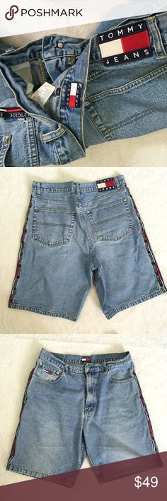 """Vtg Tommy Hilfiger men's Sz 36 Jean shorts 10"""" inseam Excellent condition. Please check measurments before buying, comes with the big patch logo Tommy Hilfiger Shorts Jean Shorts"""