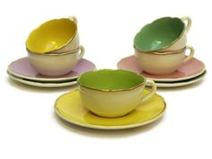 Pastel Tea Cups and Saucers. Vintage French by LeBonheurDuJour