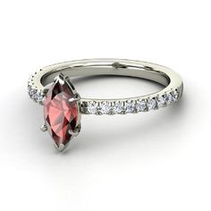 Cara Ring, Marquise Red Garnet  Platinum Ring with Diamond from Gemvara Would be lovely in yellow gold