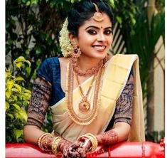 Kerala Saree, Kerala Wedding Saree, Bridal Sarees South Indian, Indian Wedding Bride, Bridal Silk Saree, Indian Bridal Outfits, Indian Bridal Fashion, South Indian Bride, Wedding Sarees