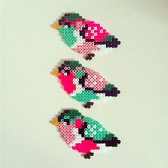 3D Beaded Bird Patterns | YESSSSSSS. Mini colorful birds made of hama beads. :) You can see ...