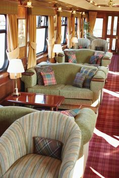 The Belmond Royal Scotsman Train----The Observation Car provides a great vantage place to see and enjoy the Highlands scenery. My dream train trip! Orient Express, England And Scotland, Train Tracks, Scotland Travel, Home Interior, Oh The Places You'll Go, Edinburgh, Luxury Travel, Tartan