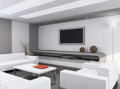 Modern interior home design with white wall paint color complete with white sofa and coffee table also with chic floor lamp