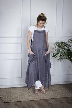 Grey linen apron dress linen dress for women linen apron