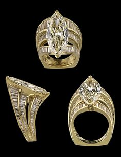 """""""Ascension"""" Colorless diamonds set in gold ring.  7.42-carat diamond (center)  Designed by Lester Lampert of Lester Lampert, Inc.  On display at the Field Museum - Gallery of Gems in Chicago."""