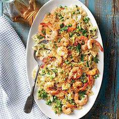 Shrimp and Peas with Farfalle | Lemony breadcrumbs add a delightful crunch to this dish.