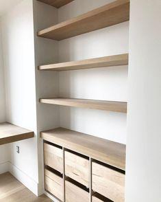 Shelves In Bedroom, Bedroom Storage, Diy Closet Shelves, Closet Desk, Laundry Room Shelves, Hall Closet, Kitchen Shelves, Bedroom Decor, Kitchen Cabinets