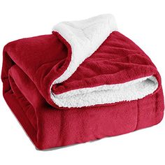 """cute cat gifts for men - Sherpa Throw Luxury Blanket Red Twin Size 60\""""x80\"""" Reversible Fuzzy Microfiber All Season Blanket for Bed or Couch by Bedsure -- Read more at the image link. (This is an affiliate link) #CuteCats"""