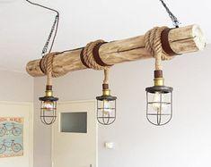 Suspension en bois, «Corde Cage Chandler», barre d'éclairage, industriel, lampe minimaliste, Loft, (y compris les 3 Filaments)