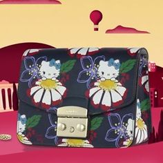 45c039a39 Discover the new Furla Metropolis designs: Hello Kitty is surrounded by  flowers on a pink