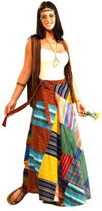 Patchwork Wrap Hippie Costume - Hippie Costumes totally being this for Halloween! Costume Hippie, 60s Costume, Costume Dress, Party Costumes, Hippie Skirts, Hippie Dresses, Hippie Outfits, 70s Outfits, Hippie Style