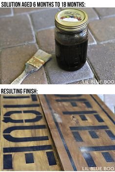 Aging Wood: Vinegar & Steel Wool Solution (if you leave it long enough the steel wool disintegrates completely and the mixture is allowed to produce rust, adding a reddish brown tone) Steel Wool And Vinegar, Rustic Wood Signs, Wooden Signs, Wine Barrel Lazy Susan, Diy Wood Stain, Antique Signs, Rustic Crafts, Aging Wood, Decoration Home
