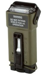 Military-Spec Strobe Light - $99.95 USD - Model Number: MS-2000(M) - When it comes to saving lives, anything less than the best is not an option. Since the introduction of the MS-2000(M), it has become the main Combat Search and Rescue (C-SAR) light carried by elite military forces around the world. Light Dispersion: White-omnidirectional, IR-omnidirectional, Blue-unidirectional - 2 AA alkaline or lithium batteries will operate continuously for a minimum of 8 hours.