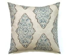 Decorative pillow cover Designer fabric 20x20inch Brown Blue throw