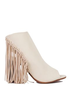 Open Toe Fringe Heeled Booties in Beige Fly Shoes, Walk In My Shoes, Fringe Booties, Ankle Booties, High Heel Boots, High Heels, White Two Piece, Funky Fashion, Women's Fashion