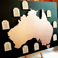 For the amazing wedding yesterday my brother who is moving to Australia with his new wife and daughter carved a map himself of Australia out of wood to use as the seating arrangement. Moving To Australia, New Wife, Brother, Daughter, Carving, Map, Wood, Amazing, Wedding