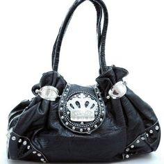 Designer Inspired Studded Shoulder Handbag W/ Rhinestone Crown Black $59.99