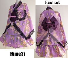 Japanese Kimono Dress washable Rose Lace Purple Dress Cosplay Gothic and Lolita Ribbon Maid Dress Kimono Robe Ninja Party dress Kawaii 04 Kimono Fashion, Lolita Fashion, Japanese Kimono Dress, Beautiful Outfits, Cool Outfits, Maid Dress, Japanese Outfits, Cosplay Outfits, Japan Fashion