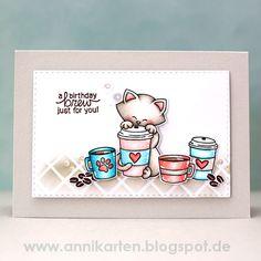 Birthday Brew card by Guest Designer Anni Lerche   Newton Loves Coffee Stamp set by Newton's Nook Designs #newtonsnook