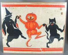 3 Vintage Halloween Crepe Paper Table Skirt