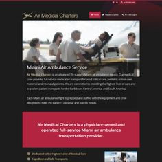 From-scratch web design by KiloThought Media for Air Medical Charters in Miami, Florida. The site had gone down, and the idea was to restore the site at the domain by creating a new design  based on the former. The color scheme was taken from the older site, and is based on the Air Medical Charters flight suit colors, red and beige.