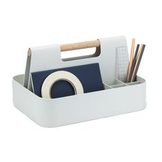 Who doesn't need a little help with storage? Inspired by the toolbox, this storage caddy is made of powder-coated aluminum and has integrated compartments to organize all sorts of stuff. Desk Caddy, Desk Tray, Storage Caddy, Craft Storage, Desktop Storage, Desktop Organization, Desktop Shelf, Matte Powder, Decor Inspiration