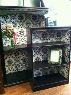 Vintage book shelf from wall paper – Home Office Design Vintage Refurbished Furniture, Repurposed Furniture, Furniture Makeover, Painted Furniture, Bookcase Makeover, Furniture Projects, Home Projects, Diy Furniture, Furniture Stores