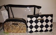 BETSEY JOHNSON POUCH COSMO 3, Clear / Red,black And White / gold Black Sequence.