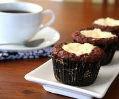 Chocolate muffins with a cheesecake filling .. oh my!