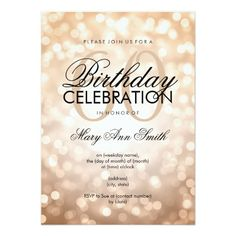 Elegant 60th Birthday Party Copper Glitter Lights Card Cake 40th Parties