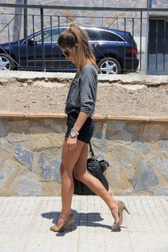 black shorts + leopard pumps + grey tee (varsity) + silver jewelry