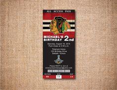 Chicago Blackhawks Invitation - Sports Ticket Invitations - Printable File