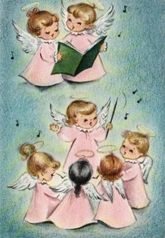 Angel Christmas Card - I have always loved these little angels.  I have 2 figurines from my childhood that go on my mantel at Christmas each year.