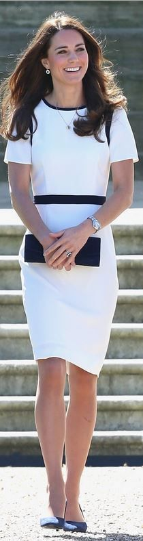 Kate Middleton: Dress – Jaeger  Purse – Stuart Weitzman Muse  Watch – Cartier  Shoes – Alexander McQueen