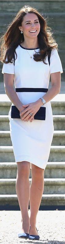 Kate Middleton: Dress – Jaeger  Purse – Stuart Weitzman Muse  Watch – Cartier  Shoes – Alexander McQueen