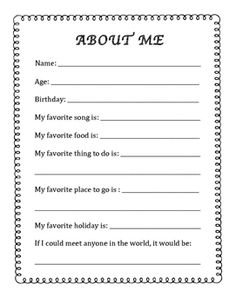 About Me - Back to School - In-Home Daycare - Nanny English Worksheets For Kids, English Lessons For Kids, 1st Grade Worksheets, School Worksheets, All About Me Preschool, About Me Activities, Back To School For Teens, First Day Of School, Daycare Forms
