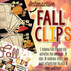 Fall Clips has 3, interactive activities that focus on Fall Activities, Apples, and Pumpkins! These activities are differentiated so you can use them with various student levels! *How to Use* -Cut out each large objects ( leaf, apple, and pumpkin ) and the three sets of action and image squares.
