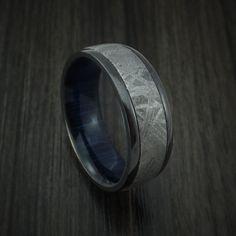 Black Zirconium Ring with Gibeon Meteorite and Blueberry Wood Sleeve Custom Made Band