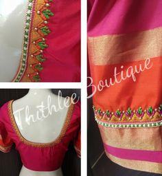 Pink Blouse Design, Blouse Designs High Neck, Best Blouse Designs, Hand Work Blouse Design, Simple Blouse Designs, Stylish Blouse Design, Saree Blouse Designs, Maggam Works, Embroidery Neck Designs