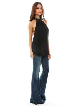 Studded Collar, Bell Bottom Pants, Haute Hippie, Silk Top, Women's Fashion, Fashion Design, Celebrity Style, Blouses, Style Inspiration