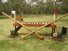Had to look twice at this one; at first thought it was a croquet set :-D    Warwick 3 Day Event Jump