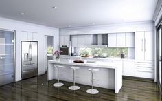small kitchens with islands black and white - Google Search